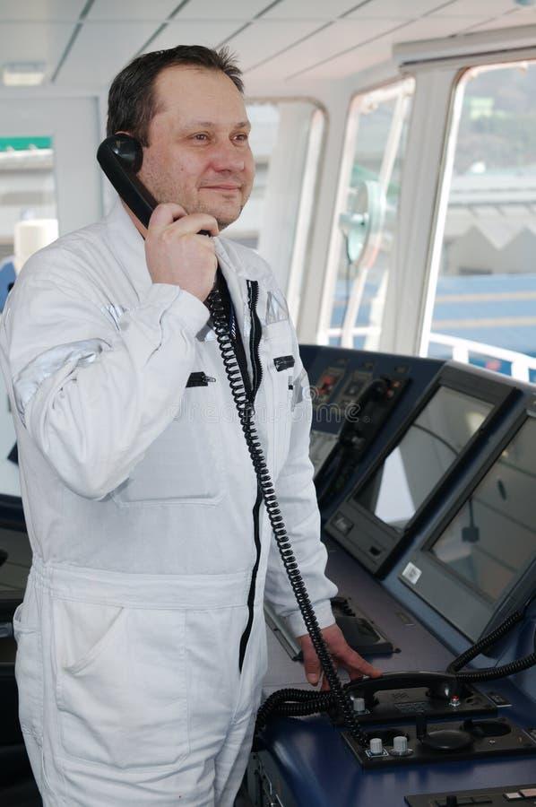 Captain of the ocean ship stock photo