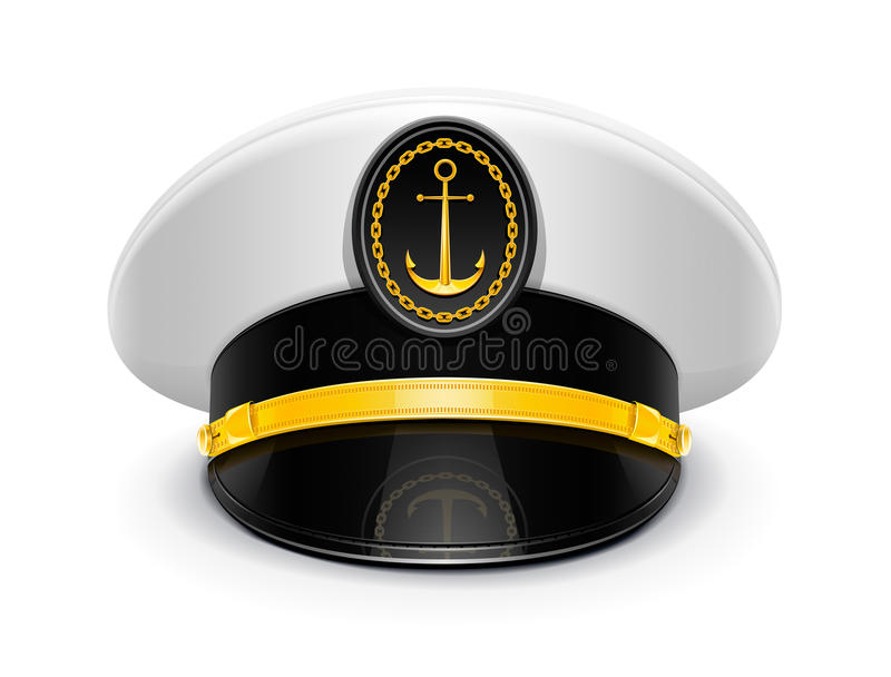 Captain peaked cap with cockade stock illustration