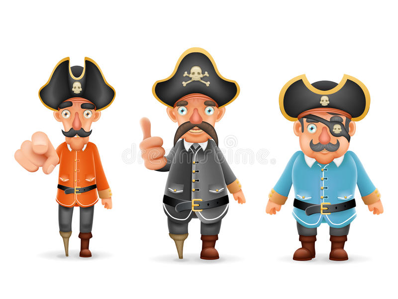 Captain Pirate Funny Pointing Thumbs Up 3d Realistic Cartoon Characters Set Design Isolated Vector Illustration. Captain Pirate Funny Pointing Thumbs Up royalty free illustration