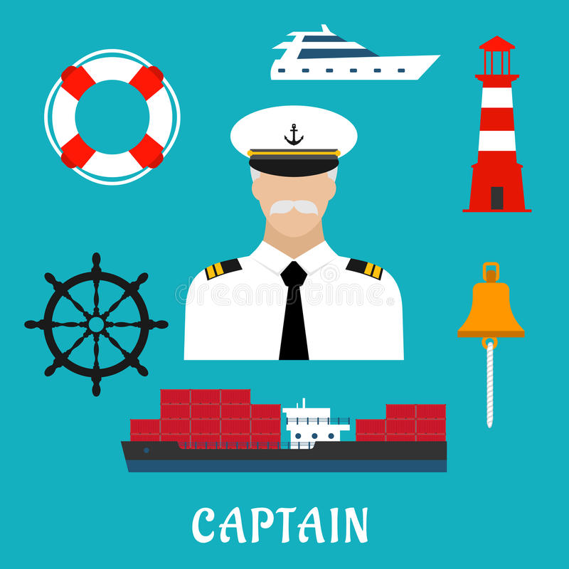 Captain profession and nautical flat icons. Captain profession flat icons with man in white uniform and peaked cap, surrounded by helm, cargo ship, yacht royalty free illustration