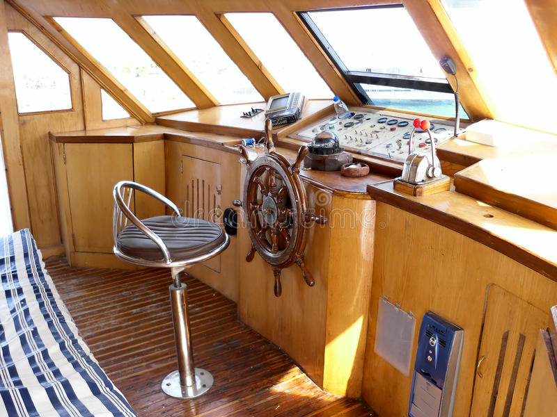 Captain's bridge of the sea boat stock photography