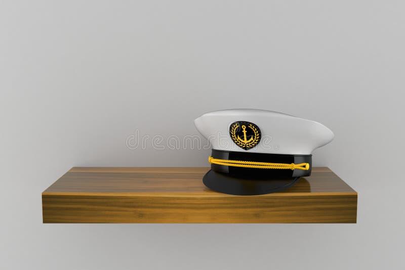 Captain`s hat on wooden shelf. Isolated on grey background. 3d illustration stock illustration
