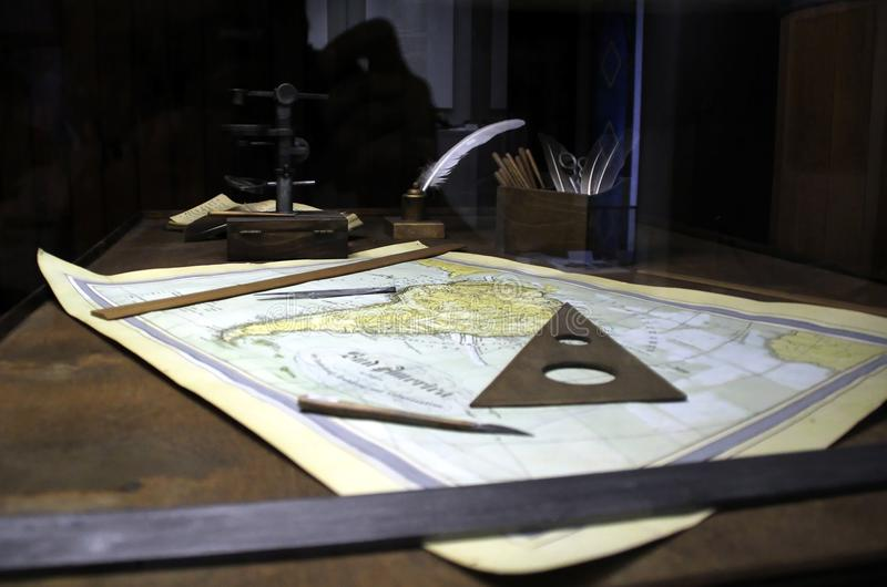 The captain`s work table in the days of the Great Discoveries. The State Darwin Museum. 2 July 2017 stock photography