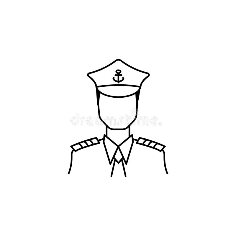 captain of the ship icon. Avatar element of professions for mobile concept and web apps. Thin line icon for website design and de royalty free illustration