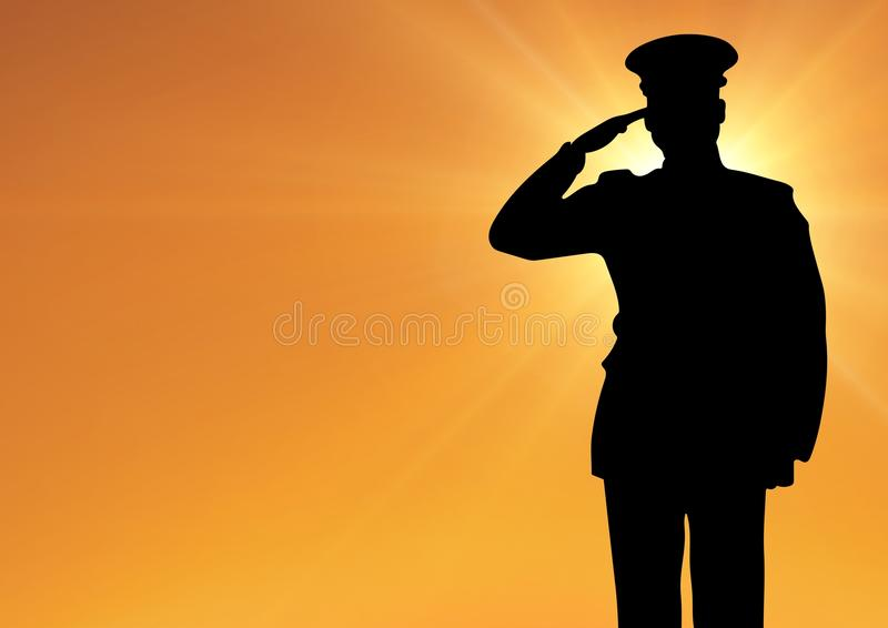 Captain silhouette saluting against sun stock illustration