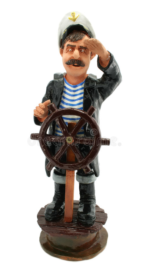 Captain with steering-wheel isolated. On white background stock image