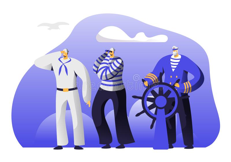Captain at Steering Wheel, Sailors in Stripped Vests Holding Life Buoy and Ringing Bell. Ship Crew Male Characters in Uniform royalty free illustration