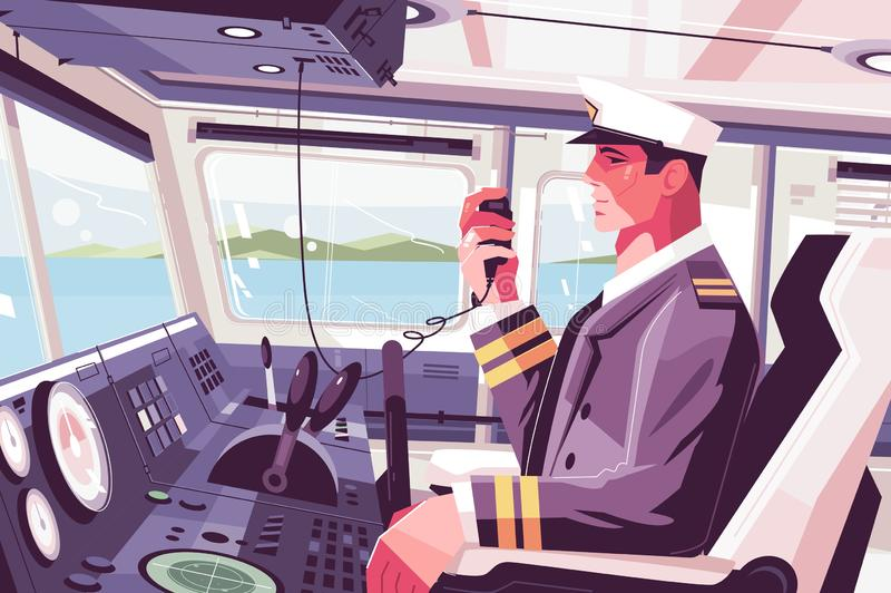 Captains cabin on ship. Vector illustration. Ferry boat pilot command berth with captain operating machine and talk into radio set flat style concept. View on royalty free illustration