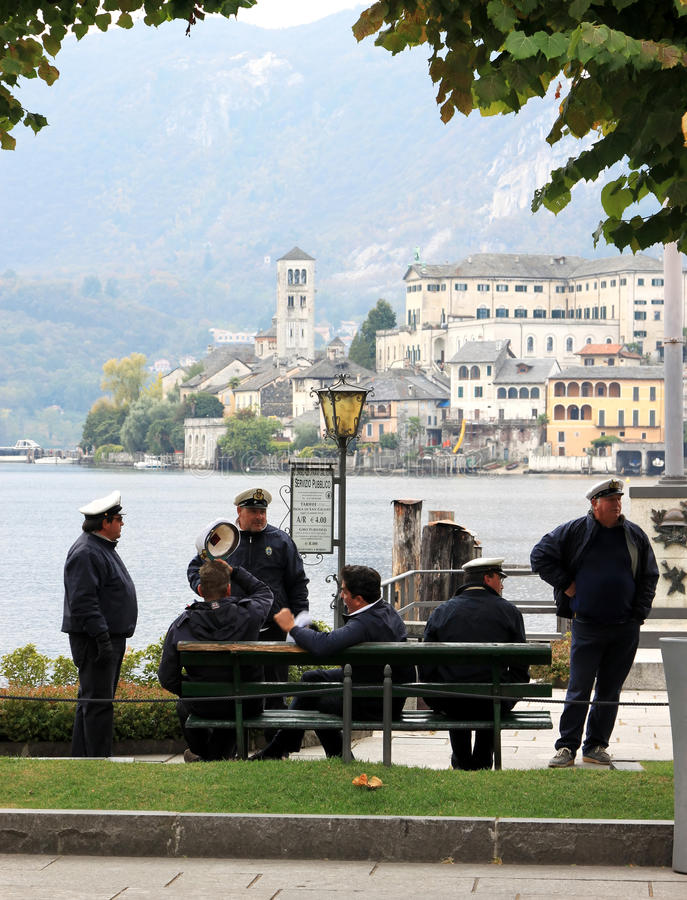 Captains of ferry to San Giulio Lake, Italy stock image