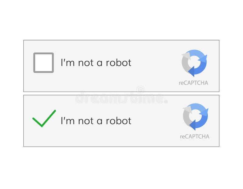 Captcha ben ik op een robot royalty-vrije illustratie