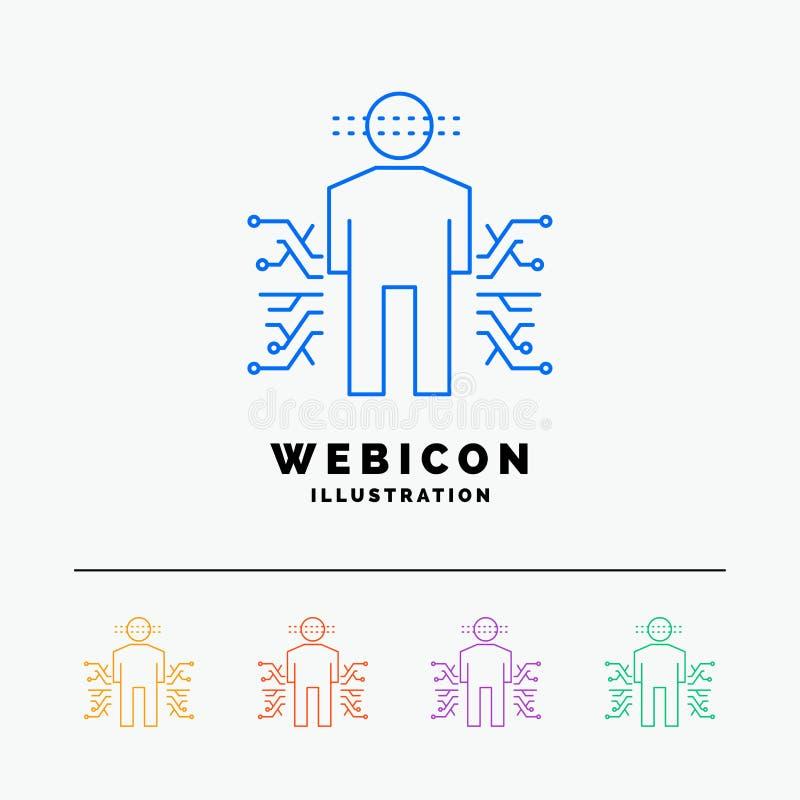 Capteur, corps, données, humaines, discrimination raciale de la Science 5 calibre d'icône de Web d'isolement sur le blanc Illustr illustration libre de droits