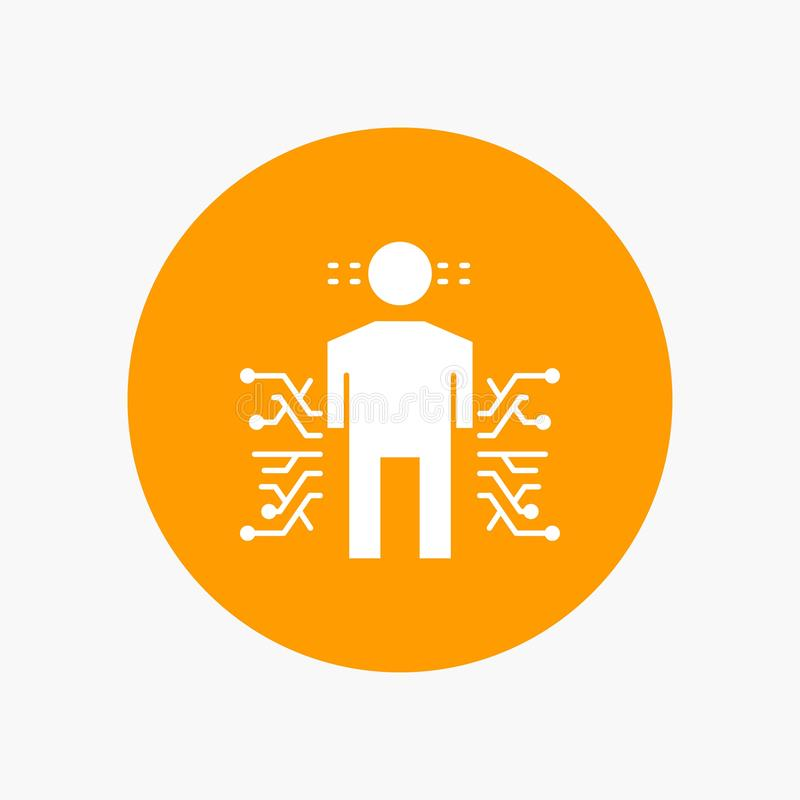 Capteur, corps, données, humaines, icône blanche de Glyph de la Science en cercle Illustration de bouton de vecteur illustration de vecteur