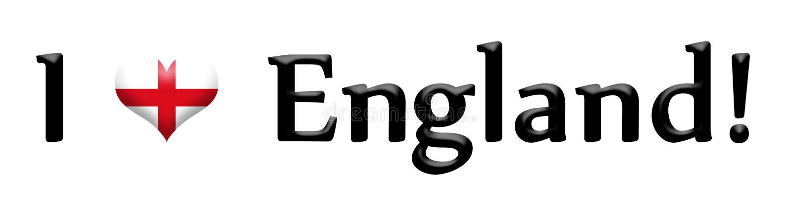 Caption I love England isolated on white. Caption I love England with heart symbol toned in colors of the flag isolated on white vector illustration