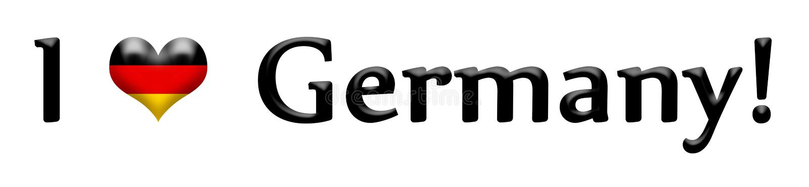 Caption I love Germany isolated on white. Caption I love Germany with heart symbol toned in colors of the flag isolated on white vector illustration