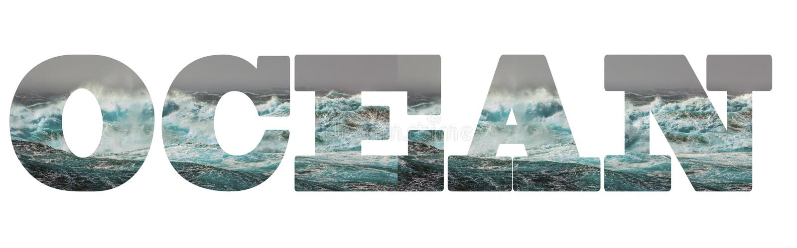 Caption: Ocean. The letters of the inscription contain the texture of the storm,. Turquoise waves of the Pacific Ocean. Storm 6 points royalty free stock photos