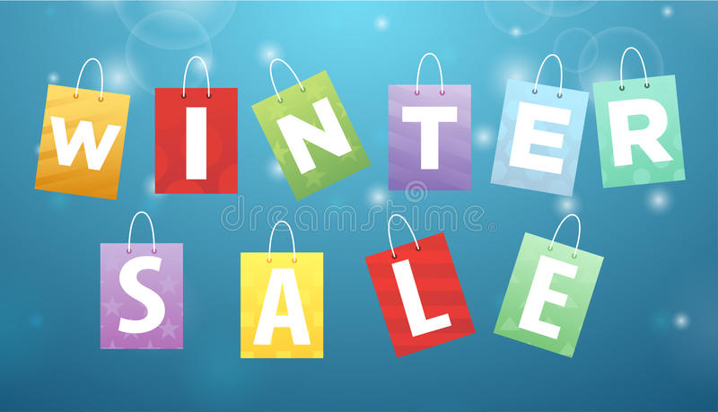Caption Winter Sale on packages royalty free illustration