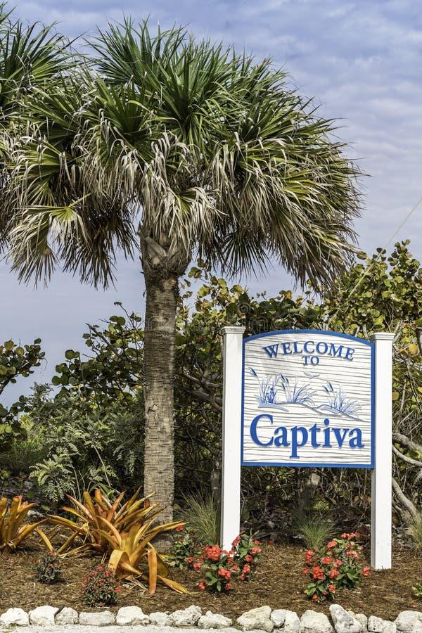 Captiva Island welcome to sign stock photo