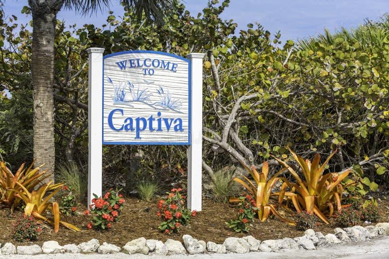 Captiva wyspy znak powitalny w Floryda obrazy stock