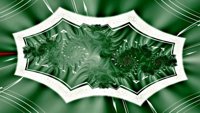 Captive audience, widescreen. Odd but interesting widescreen fractal shape mainly in green on light background vector illustration