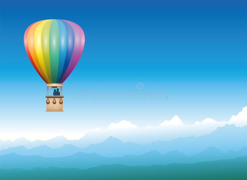 Captive Balloon Mountain Horizon. Captive balloon peacefully drifting through a misty blue mountain landscape - rainbow colored flying vehicle with two people vector illustration