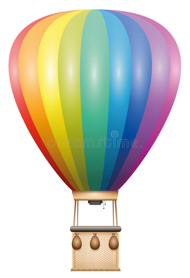 Captive Balloon Rainbow Colored. Captive balloon - rainbow colored flying vehicle with basket and sandbags - isolated vector illustration on white background royalty free illustration