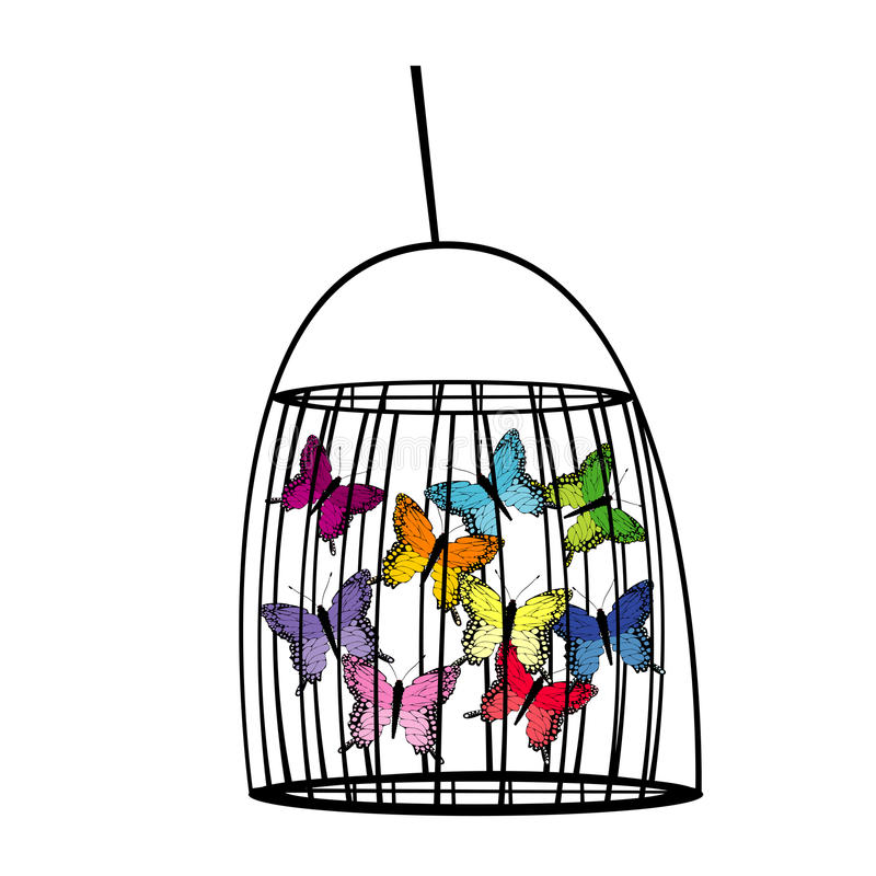 Captive butterflies in a cage. Abstract illustration royalty free illustration