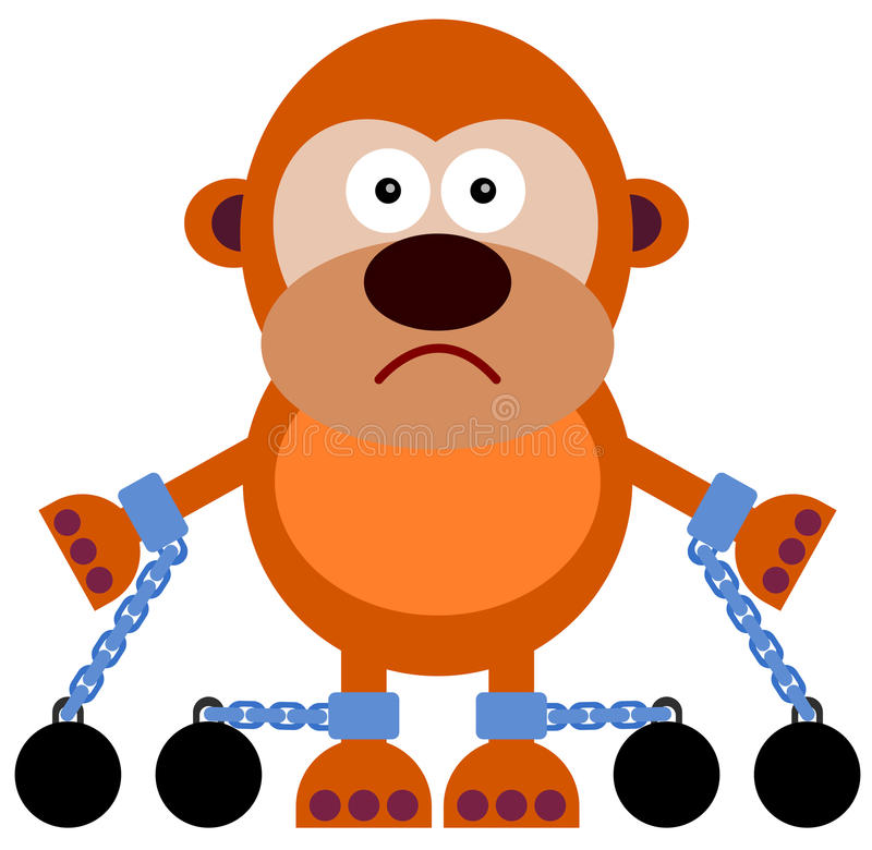 Captive. A cartoon illustration of a gorilla with chains royalty free illustration