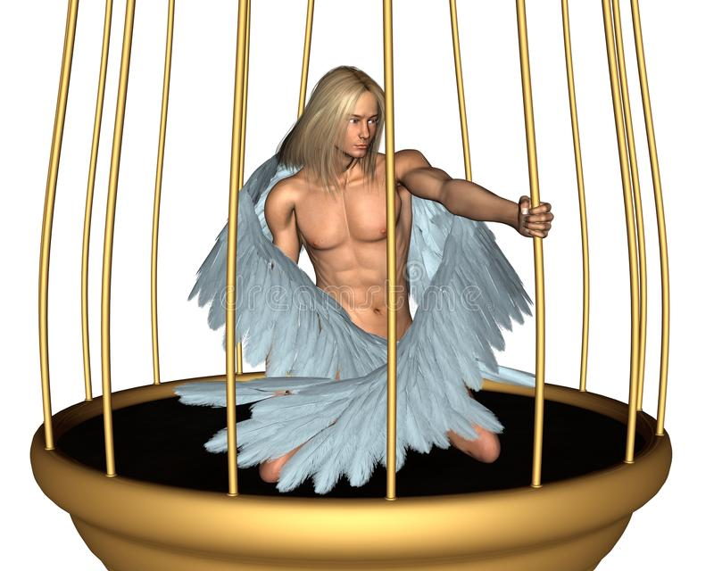 Captive Male Angel in Gold Cage. Beautiful male angel imprisoned in a golden cage, 3d digitally rendered illustration royalty free illustration