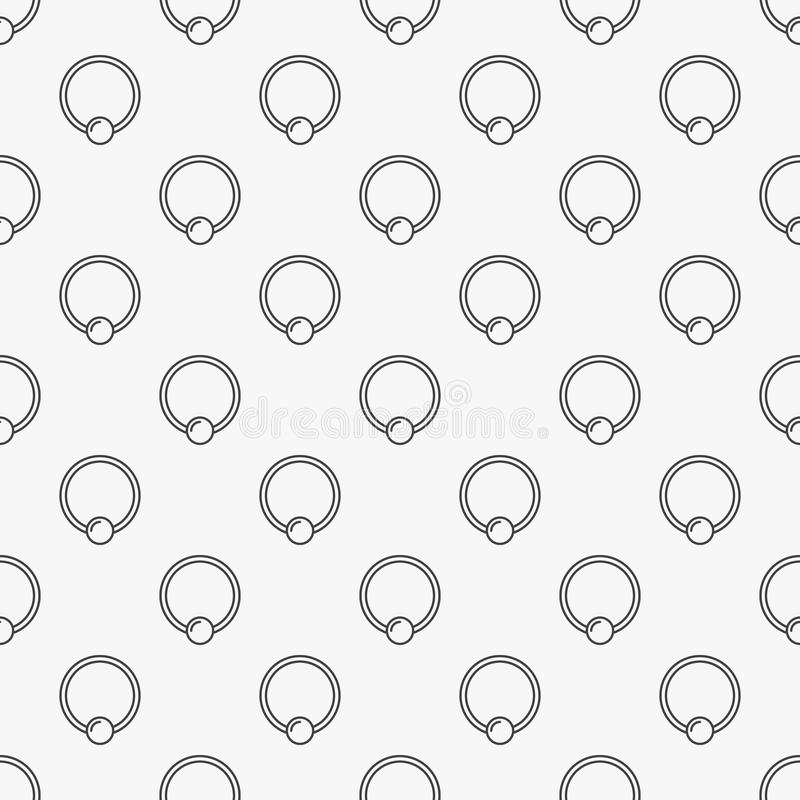 Captive ring seamless pattern. Vector piercing background. Captive ring minimal seamless pattern. Vector piercing jewelry simple background vector illustration