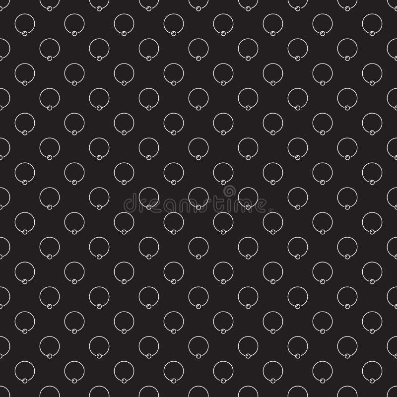 Captive ring vector dark seamless pattern. Piercing background. Captive ring vector dark seamless pattern. Body piercing jewelry concept background royalty free illustration