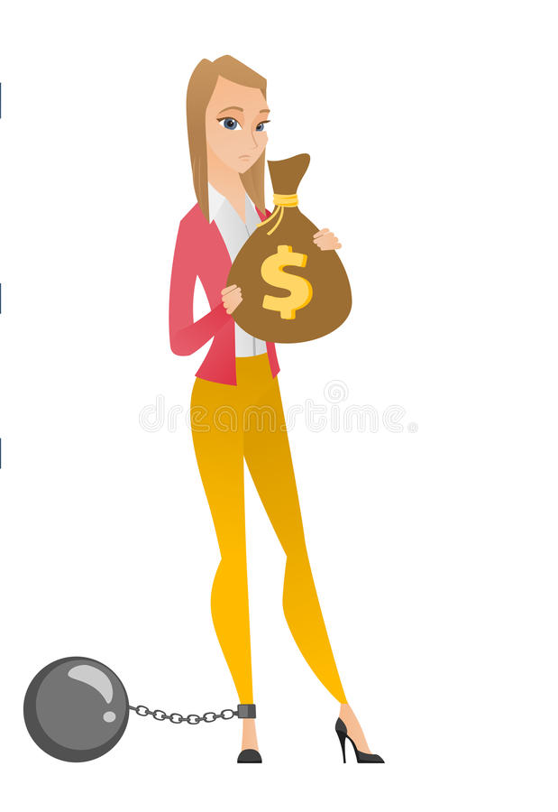 Captive taxpayer holding bag with taxes. Caucasian business woman taxpayer holding bag with dollar sign. Captive taxpayer holding bag with taxes. Concept of tax vector illustration