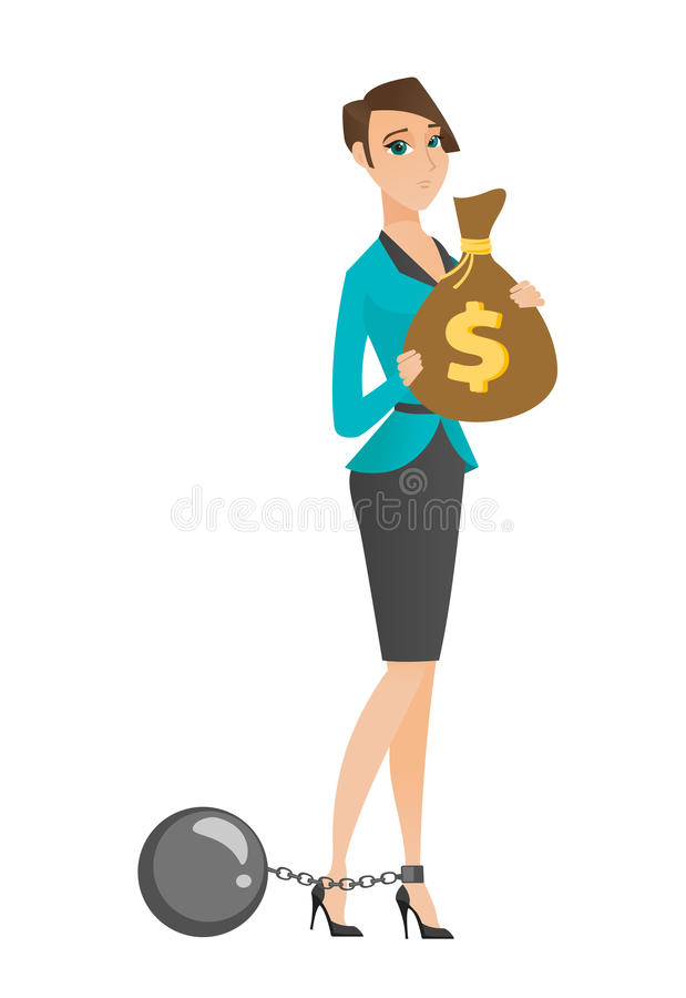 Captive taxpayer holding bag with taxes. Caucasian business woman taxpayer holding bag with dollar sign. Captive taxpayer holding bag with taxes. Concept of tax stock illustration