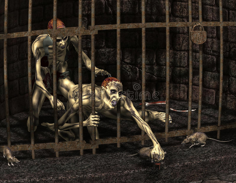 Captive zombies. 3d rendering of captive zombies as illustration stock illustration