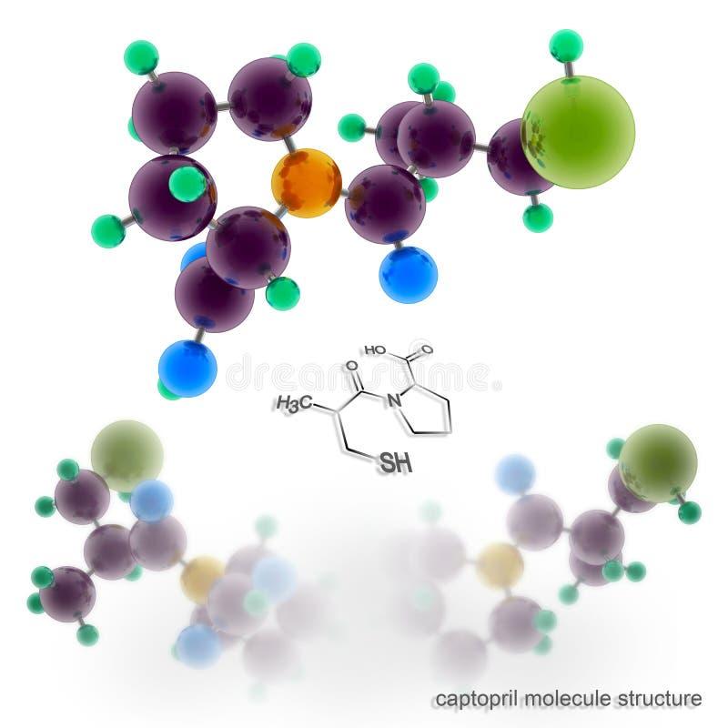 Captopril molekylstruktur stock illustrationer