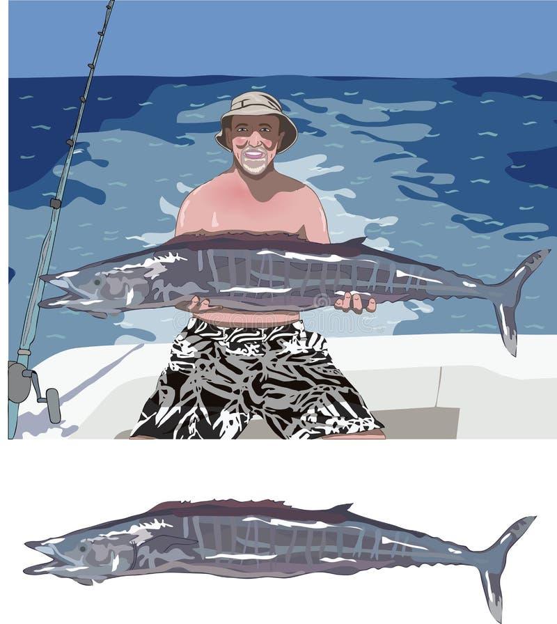 Captura de peixes grande fotografia de stock