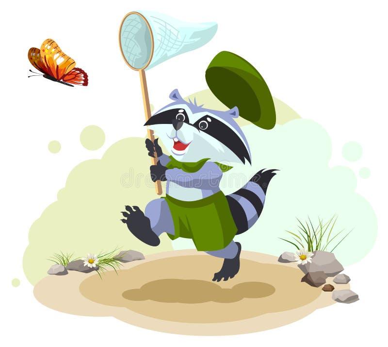 Capturas de la mariposa del mapache del explorador Entomólogo con la red de la mariposa Ocio del verano libre illustration