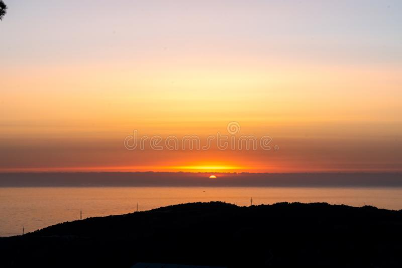 Sunset during walking in Nature royalty free stock images