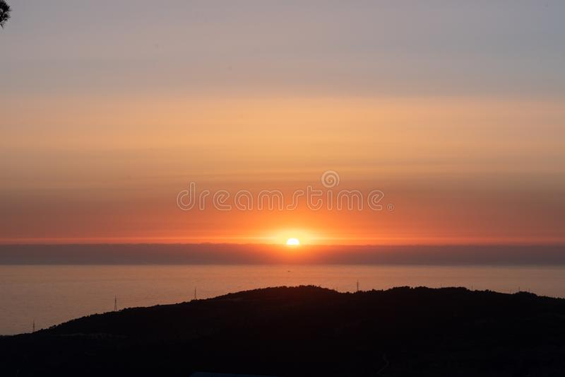 Sunset during walking in Nature stock photos