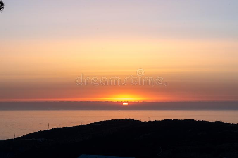 Sunset during walking in Nature royalty free stock photography