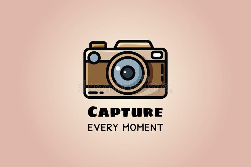 Capture cada momento Cámara del vintage o cámara retra, ejemplo plano del vector stock de ilustración