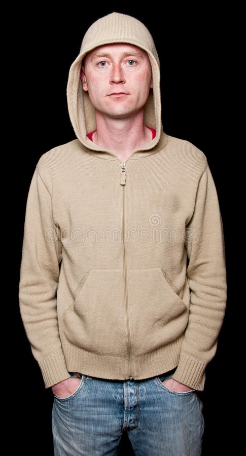 Capture of male with hoodie on black stock photography