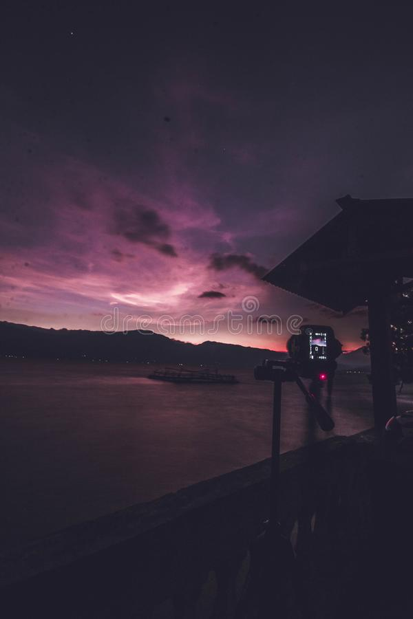 Lake Singkarak west sumatera. Capture the moment in the camera on the banks of Lake Singkarakk, indonesia stock photo