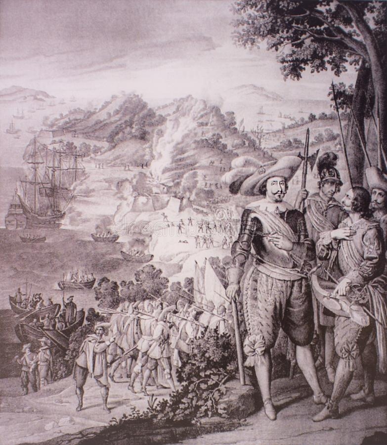 The Capture of Saint Cristopher, Saint Kitts, 1634 arkivbild