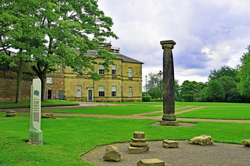 Temple Borough, Roman Granery, Clifton Park, Rotherham, South Yorkshire, England. Capturing a formal lawns garden, in Clifton Park, Rotherham, South Yorkshire royalty free stock images