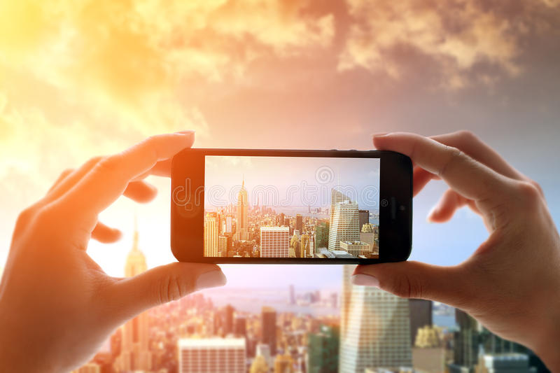 Capturing New York City. In sunset stock image