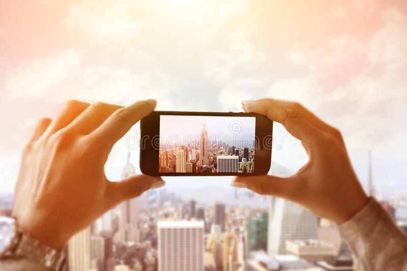 Capturing New York City. At sunset stock images