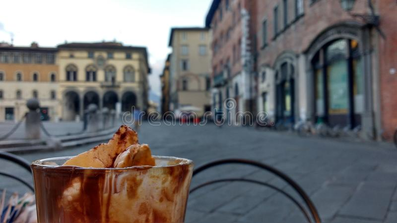 Capuccino in Lucca, Italy royalty free stock images