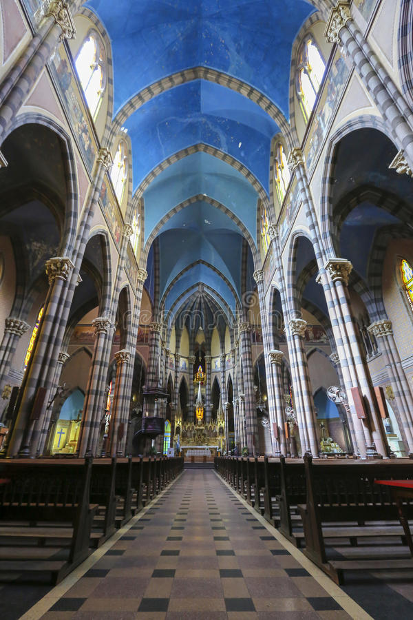 Capuchin Church, Cordoba (Argentina). Colored interior of the Capuchins Church (Iglesia del Asacrado Corazon) in the center of Cordoba. Argentina stock photos