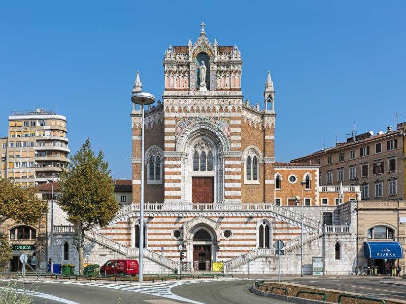 Capuchin kościół Nasz dama Lourdes w Rijeka, Chorwacja fotografia royalty free