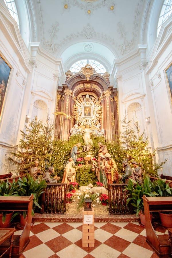 Capuchin kościół przy nowym rynkiem w Wiedeń Austria obraz royalty free